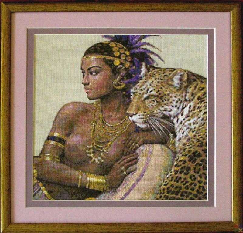 Алмазная вышивка клеопатра с леопардами 23