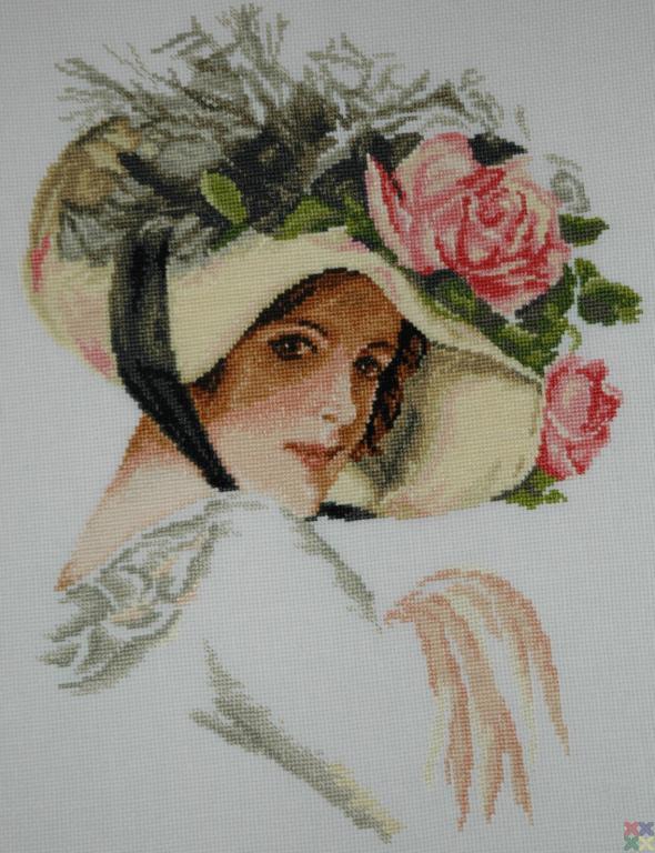 Шляпка с цветами вышивка крестом 76