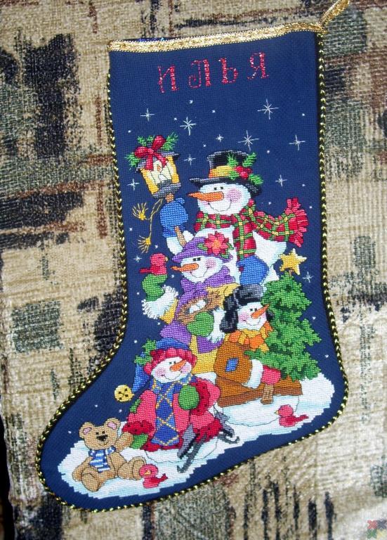 Вышивка для новогоднего носка 583