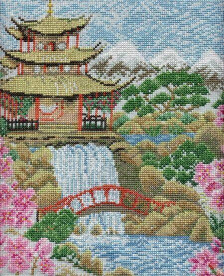 Вышивка китайский пейзаж схема вышивки 115