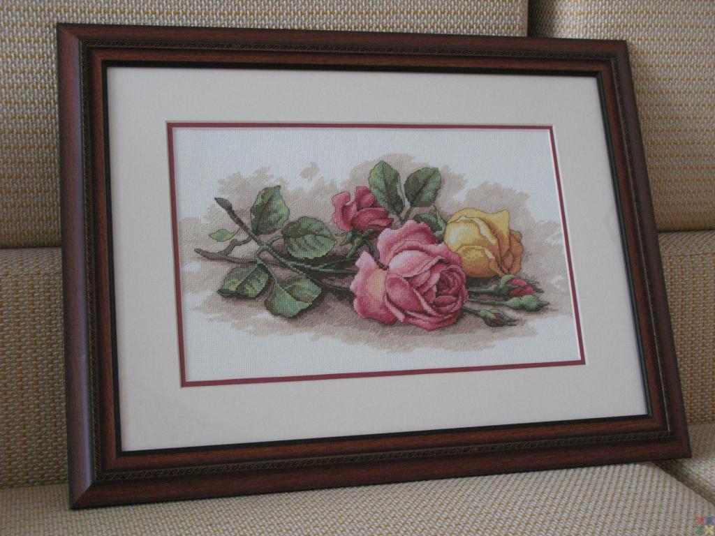 Вышивка срезанные розы дименшенс 32