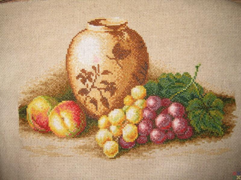 Набор для вышивания крестиком: Персики и виноград.