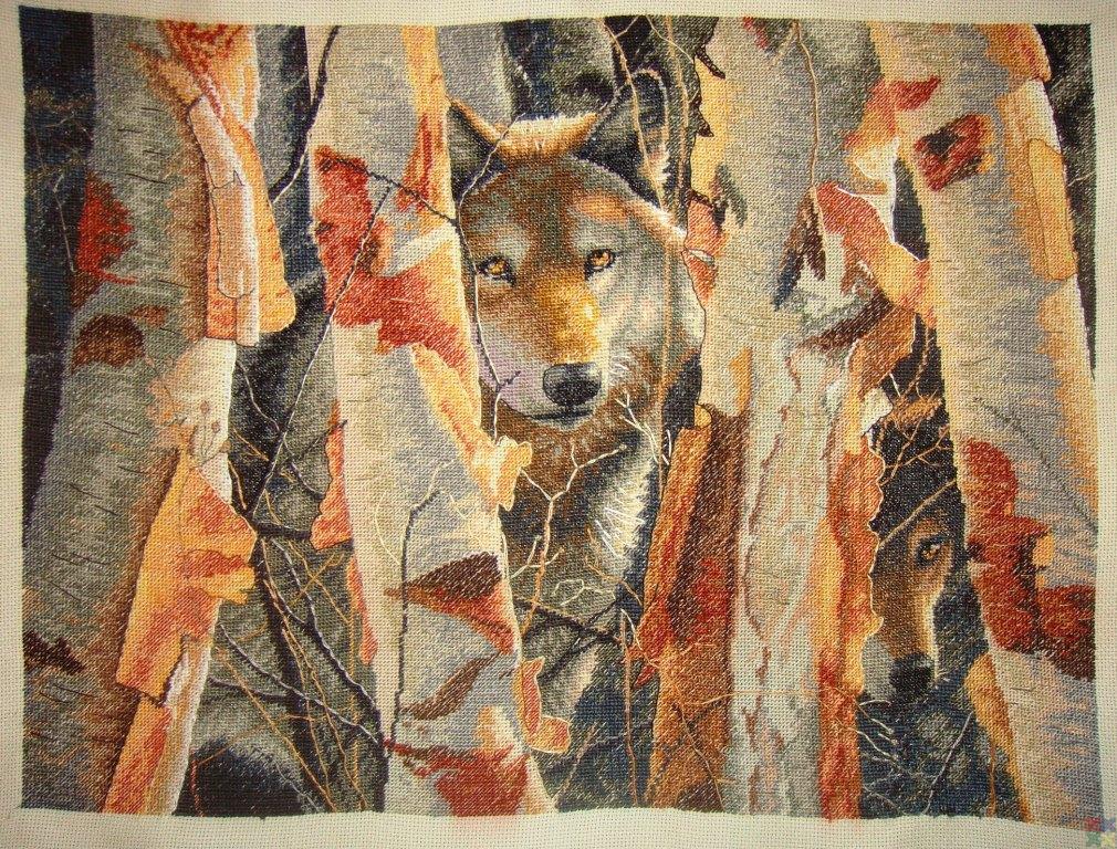 Схемы вышивок стаи волков