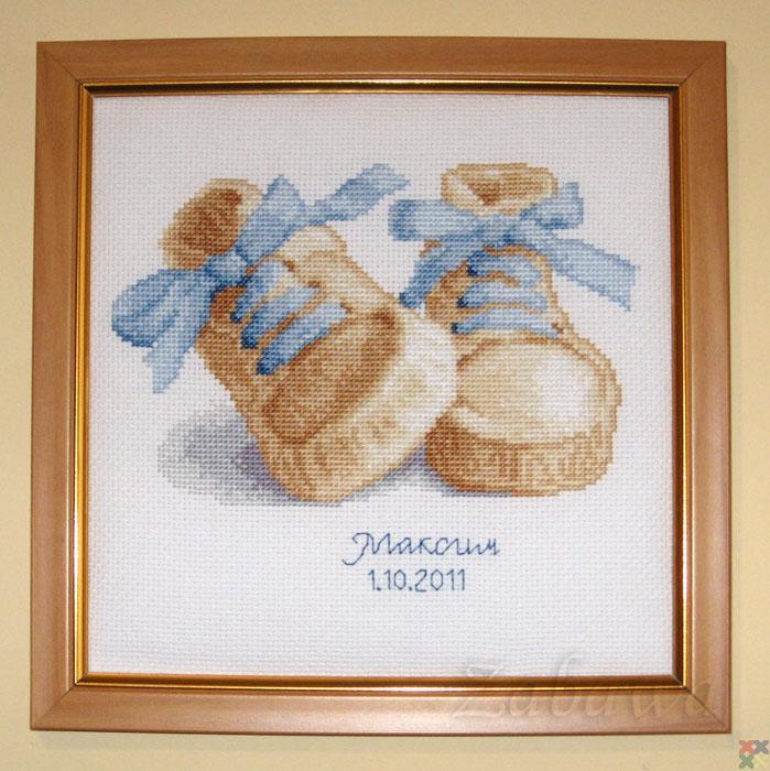 Вышивка крестиком пинетки 89