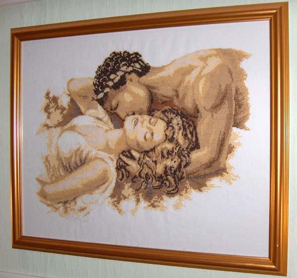 """""""Поцелуй """" от Вервако.  Это верваковский поцелуй, схема из инета, нитки подбор под интерьер, вышито на 14 белой аиде."""
