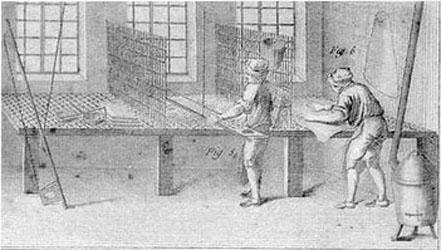 Инструменты и оборудование для валяния, использовавшиеся в 16 веке.